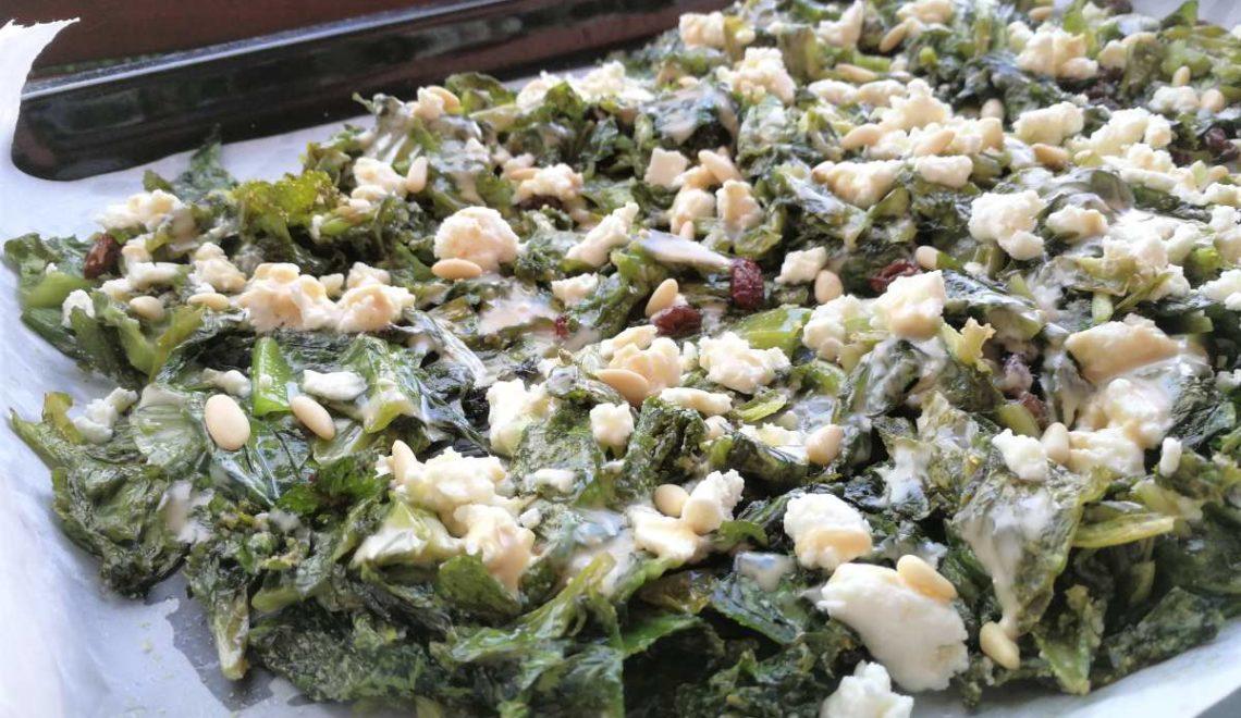 """""""Insalata"""" al forno con feta, tahini ed olive taggiasche"""