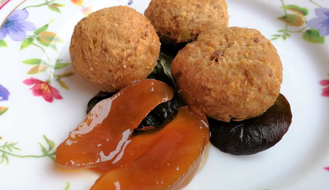 Polpette di bollito e patate con mostarda di Cremona