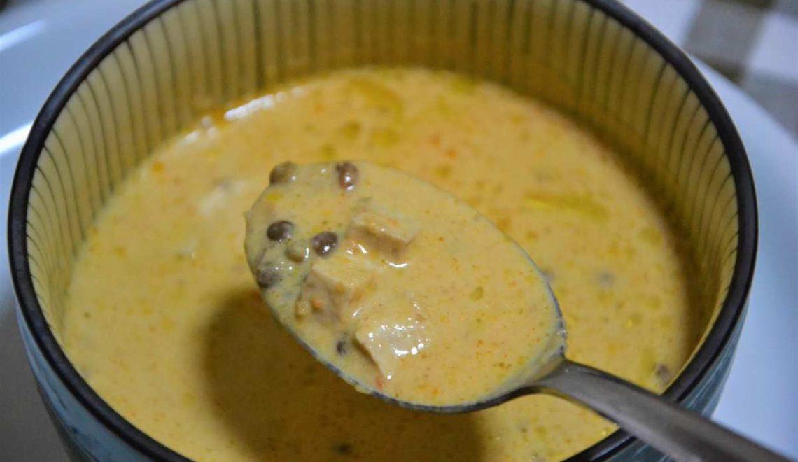 Bisque di gamberi, lenticchie e tofu
